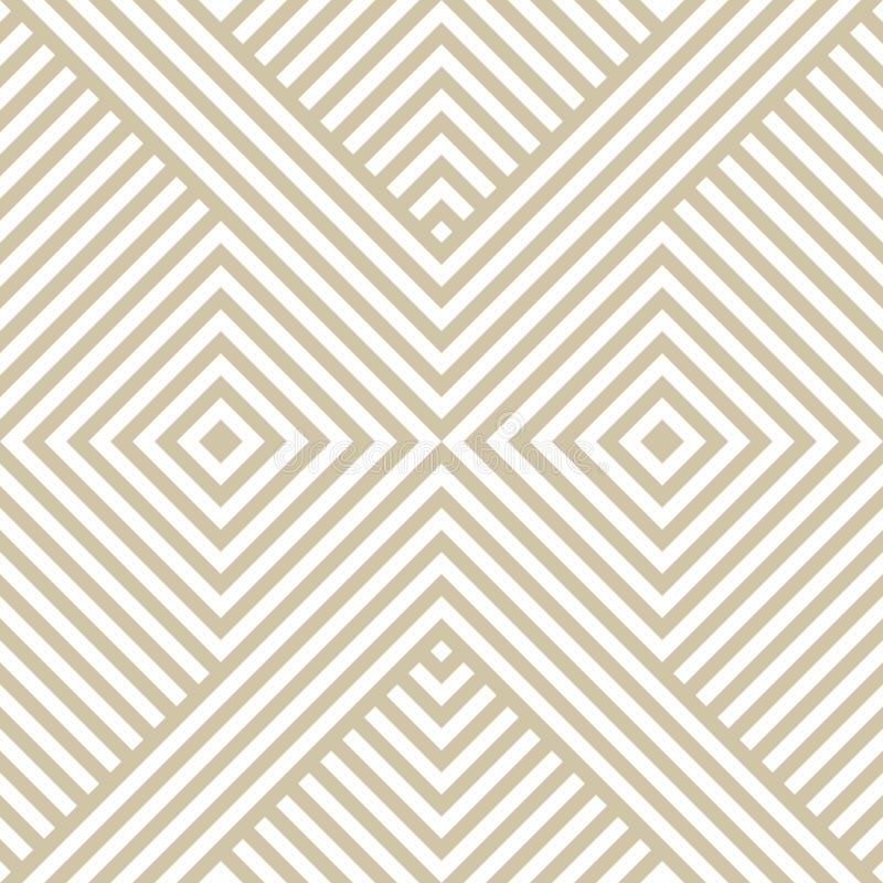 Golden linear vector geometric seamless pattern with diagonal stripes, squares, chevron. stock illustration