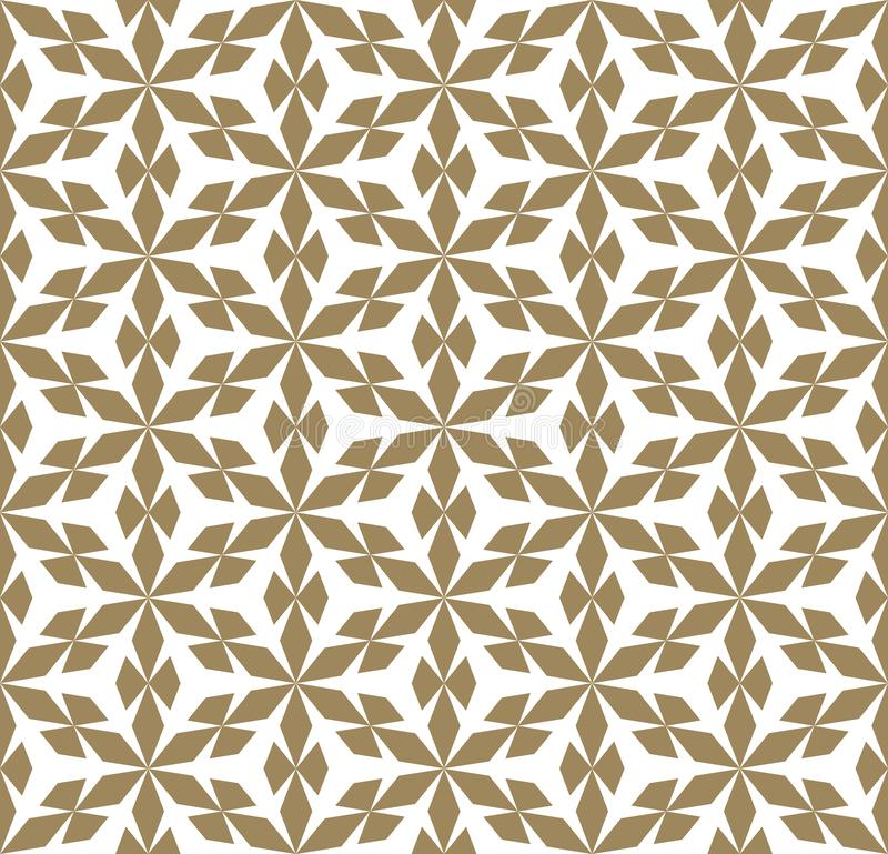 Vector golden geometric seamless pattern texture with flower shapes, snowflakes royalty free illustration