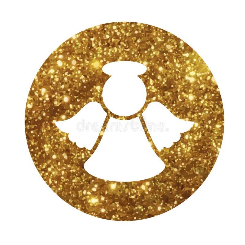Vector golden glitter Christmas angel flat icon stock illustration