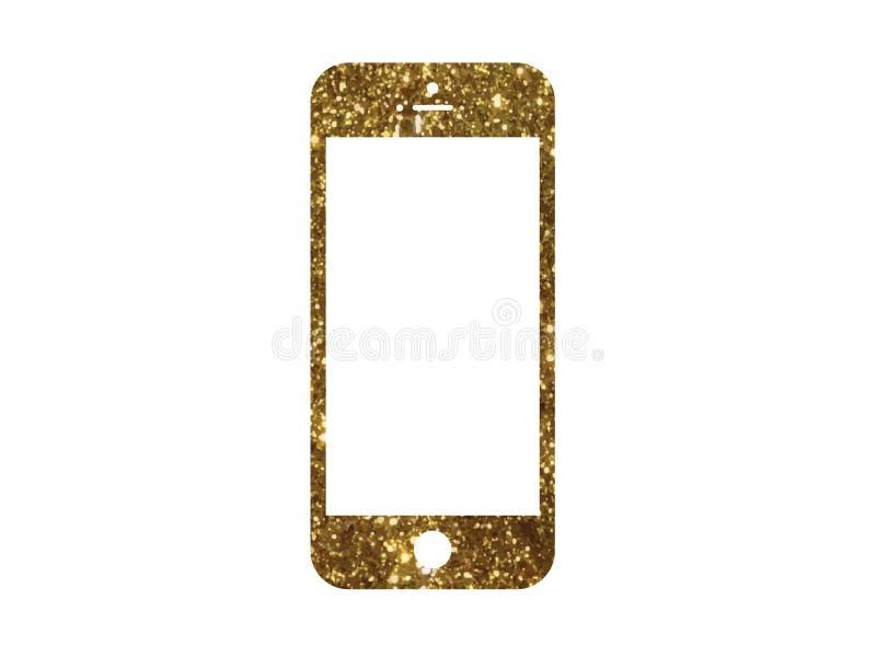 Vector golden glitter gold color flat smart phone icon vector illustration