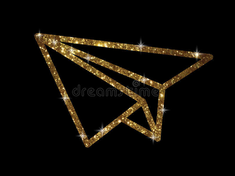 Vector golden glitter gold color paper plane icon royalty free illustration