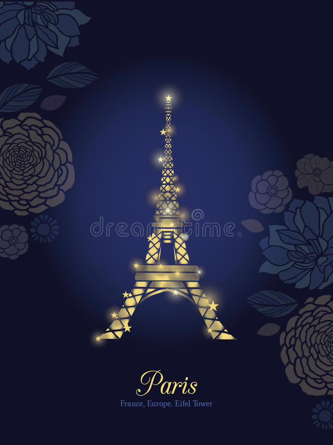 Vector Golden Glowing Eiffel Tower Surrounded By Flowers in Paris Silhouette At Night. stock illustration