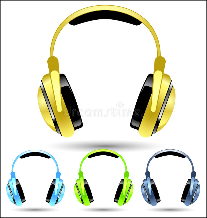 Download Vector Golden Headphones stock vector. Illustration of shined - 9144819