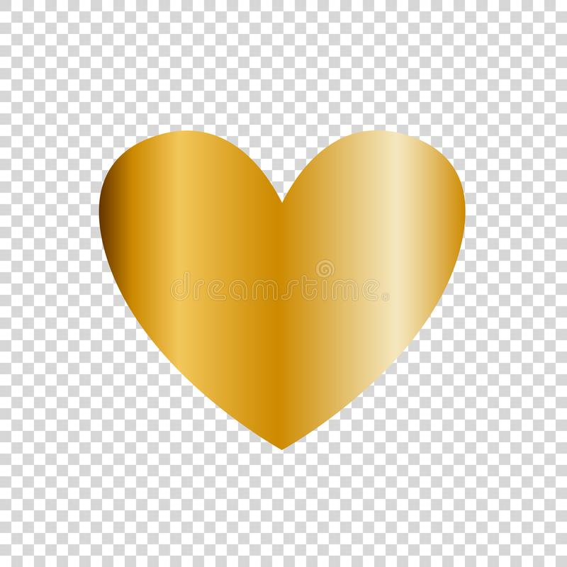 Vector golden heart icon, clip art isolated on transparent background. Gold heart sign, symbol of love royalty free illustration