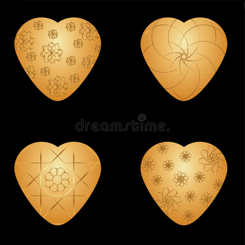 Vector Golden hearts with Golden graphic pattern. On a black background vector illustration