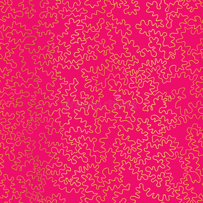 Vector Golden On Hot Pink Abstract Doodle Drawing Line Texture Seamless Pattern Background. Great for elegant gold vector illustration