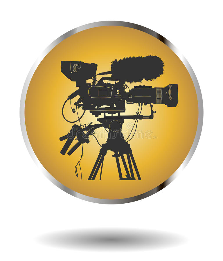 Vector golden icon with detailed professional television video camera on white with shadow vector illustration