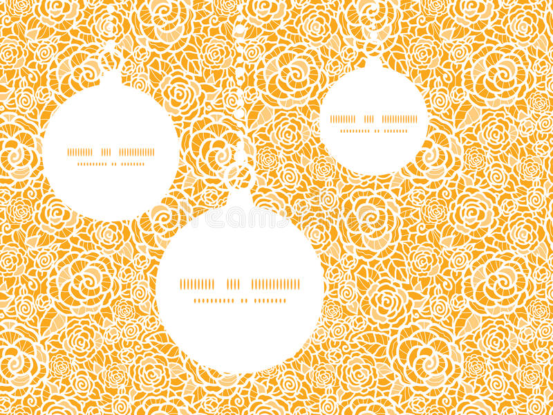 Vector golden lace roses Christmas ornaments stock illustration