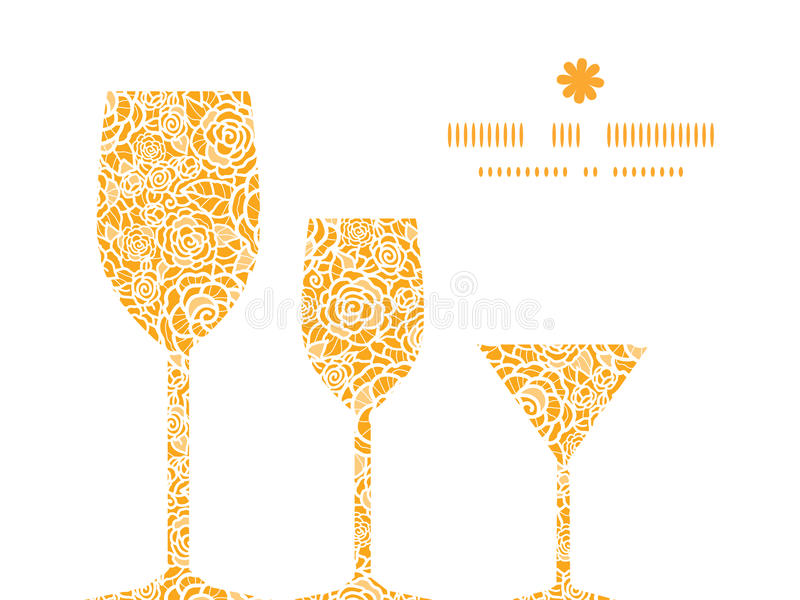 Vector golden lace roses three wine glasses stock illustration
