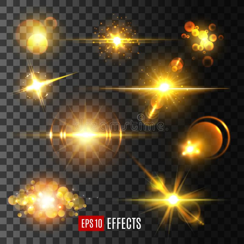 Vector golden light flashes and star sparkle icons. Golden star light flashes and sparkles on transparent background. Vector isolated icons set of sun light beam vector illustration