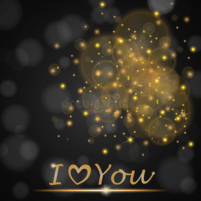 Vector golden lights concept abstract on black ambient blurred background I love You royalty free illustration