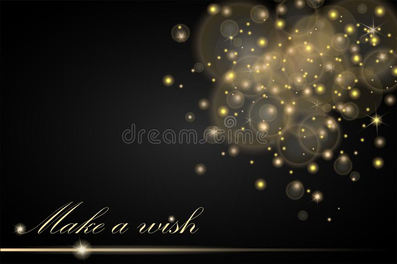 Vector golden lights concept abstract on black ambient blurred background. Luxury design vector illustration