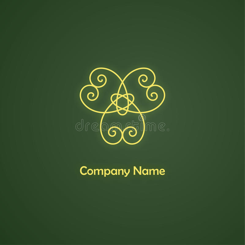 Vector golden logo template. Vector golden logo template on green background stock illustration