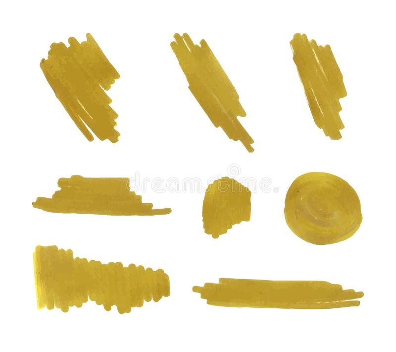 Vector Golden Marker Drawings Set, Isolated Gold Paint Brush Strokes. Vector Golden Marker Drawings Set, Isolated on White Background Gold Paint Brush Strokes vector illustration