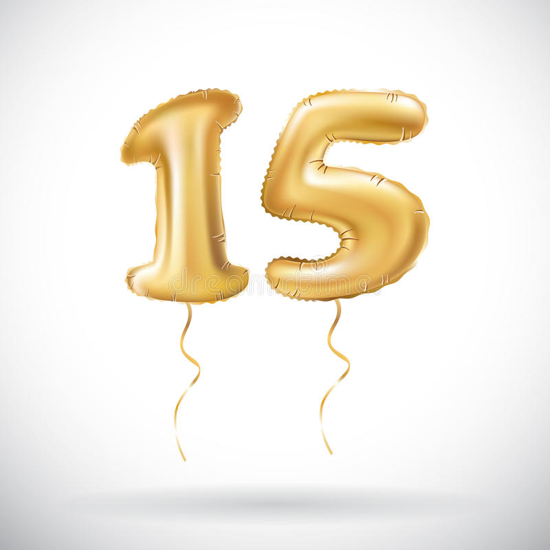 Vector Golden number 15 fifteen metallic balloon. Party decoration golden balloons. Anniversary sign for happy holiday, celebratio royalty free illustration