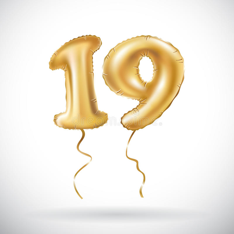 Vector Golden number 19 nineteen metallic balloon. Party decoration golden balloons. Anniversary sign for happy holiday, celebrati stock illustration