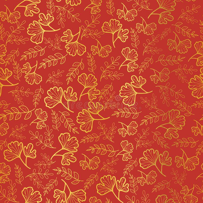 Vector golden and orange leaves texture seamless repeat pattern background. Great for fall fabric, wallpaper, giftwrap royalty free illustration