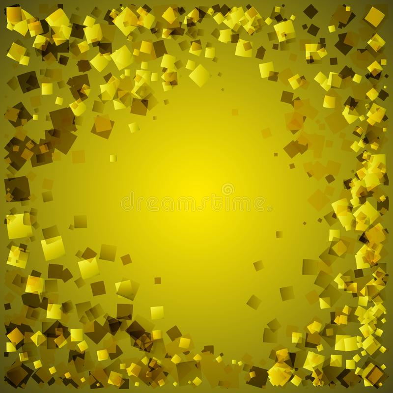 Vector golden postcard from yellow rhombuses on a gold background. vector illustration