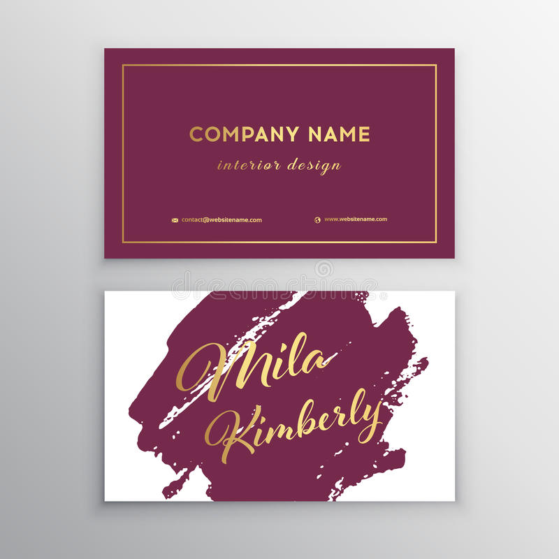 Vector Golden And Purple Business Card With Brush Stock ...