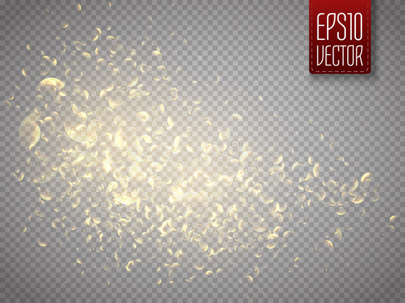Vector golden star dust trail. Shine particles . Dust cloud. Vector golden glittering star dust trail. Shine particles on transparent background. Dust cloud with vector illustration