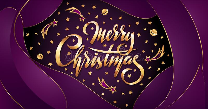Vector Golden text Merry Christmas on purple plastic effect background with falling stars, planets, comets galaxies. On liquid fluid background. Handwritten royalty free illustration