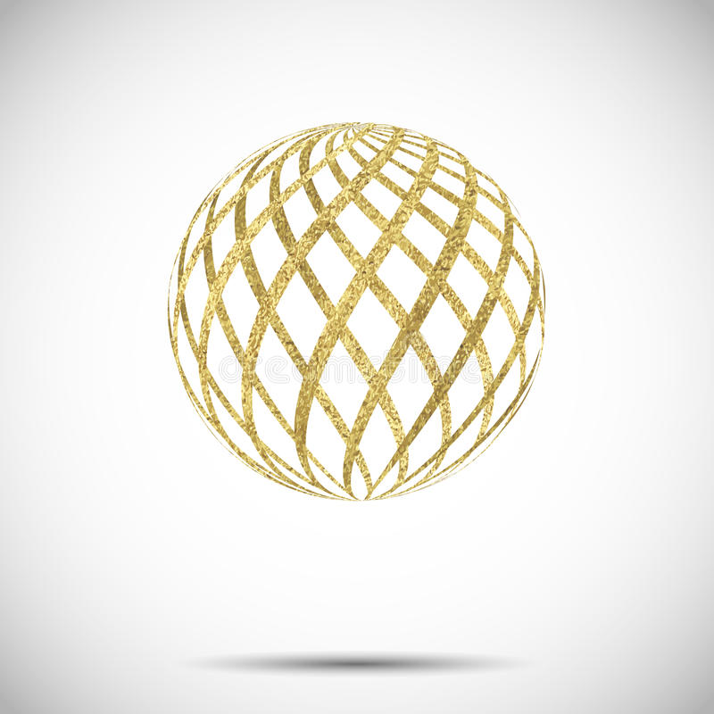 Free Vector Golden Textured Sphere Ball With Ornament And Stripes Stock Images - 58693834