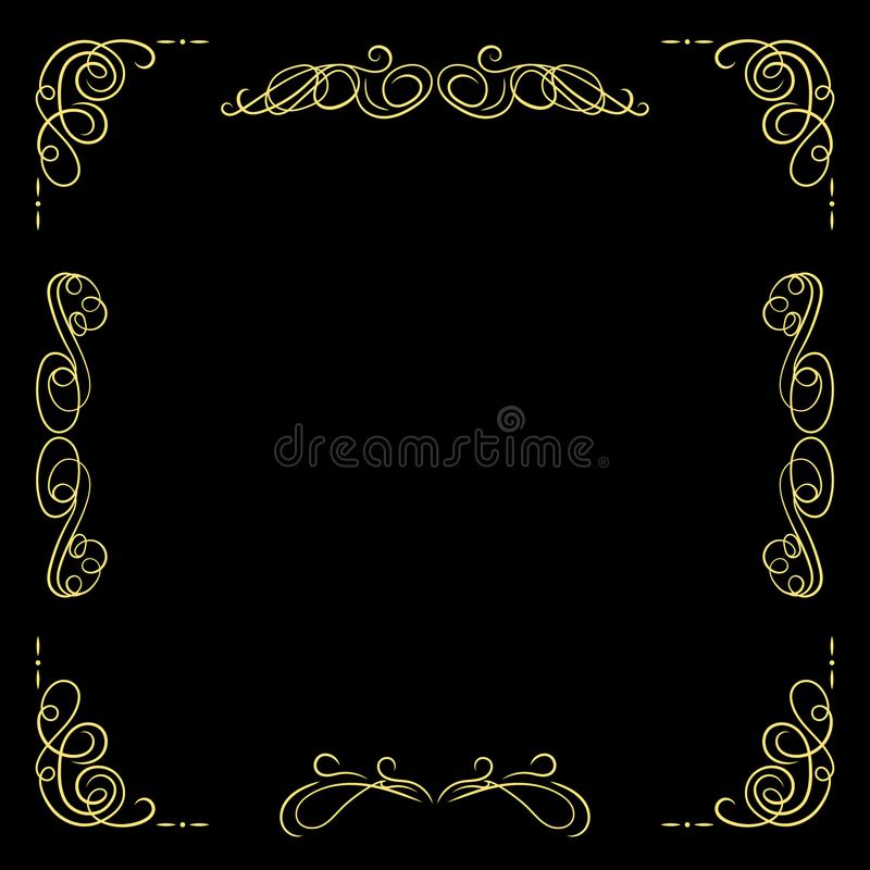 Vector Golden Vintage Frame Template, Black Background and Gold Filigree Swirly Lines, Calligraphic Design Elements. stock illustration
