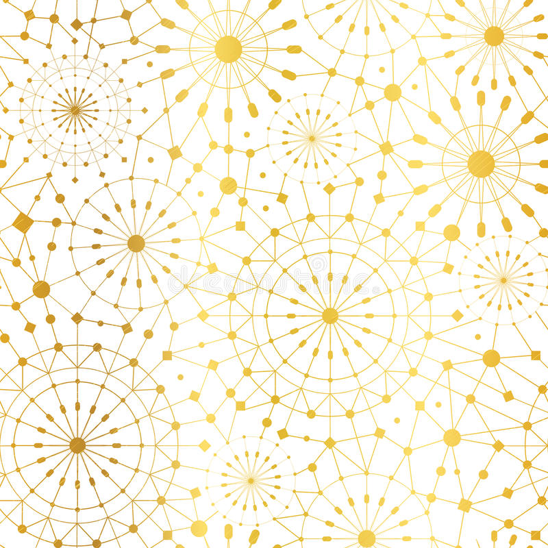 Vector Golden White Abstract Network Metallic Circles Seamless Pattern Background. Great for elegant gold texture fabric. Cards, wedding invitations, wallpaper royalty free illustration