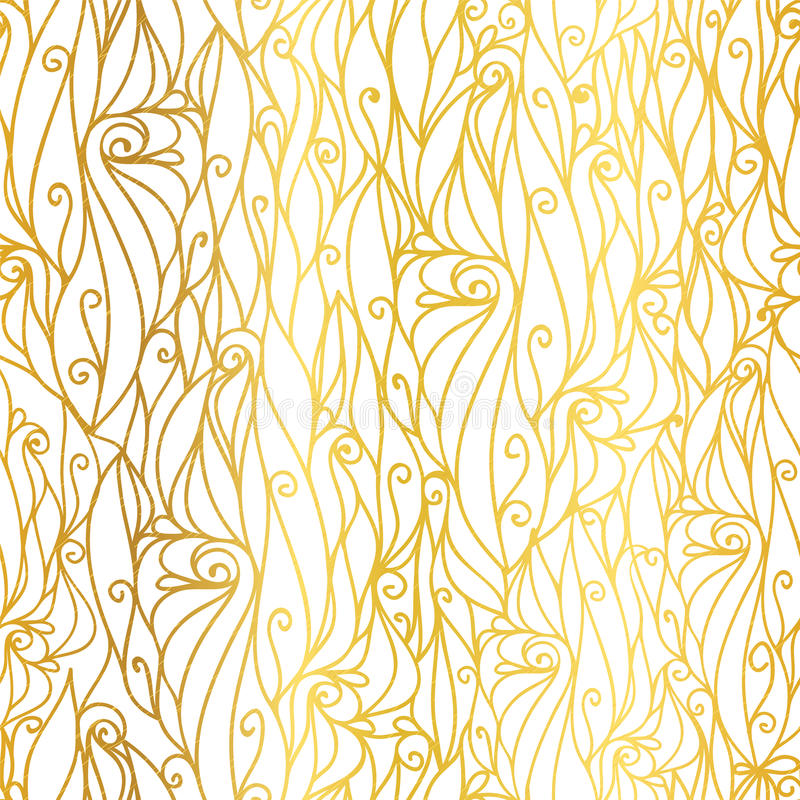 Vector Golden White Abstract Scrolls Swirls Seamless Pattern Background. Great for elegant gold texture fabric, cards. Wedding invitations, wallpaper. Surface royalty free illustration