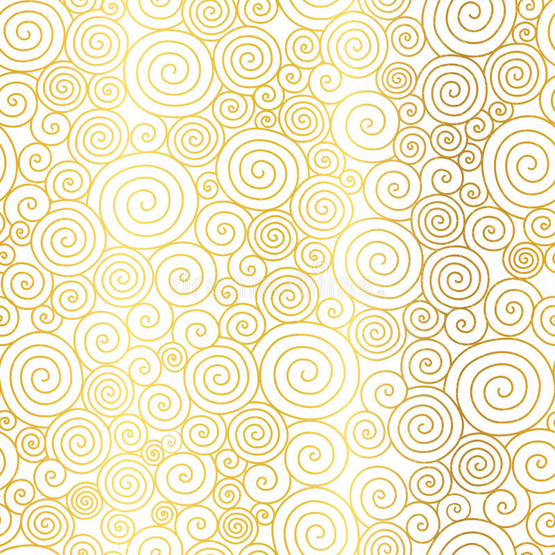 Vector Golden White Abstract Swirls Seamless Pattern Background. Great for elegant gold texture fabric, cards, wedding. Invitations, wallpaper. Surface pattern royalty free illustration