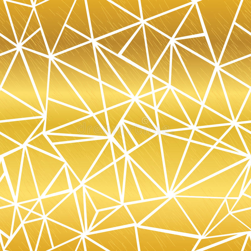 Vector Golden White Glowing Geometric Mosaic Triangles Repeat Seamless Pattern Background. Can Be Used For Fabric royalty free illustration