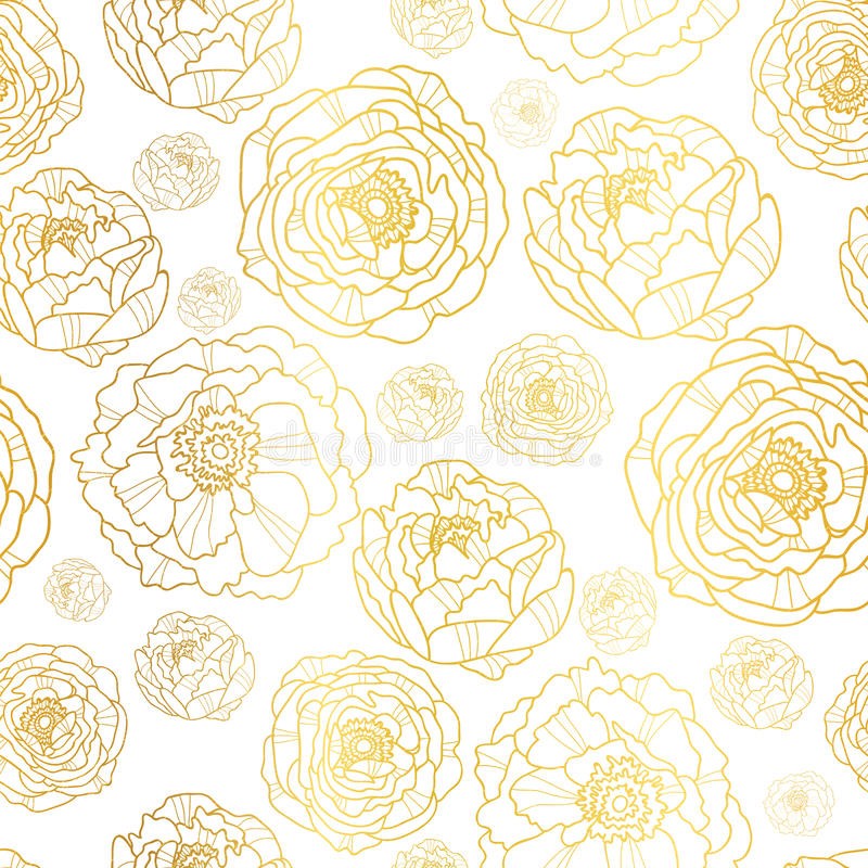 Vector Golden On White Peony Flowers Summer Seamless Pattern Background. Great for elegant gold texture fabric, cards stock illustration