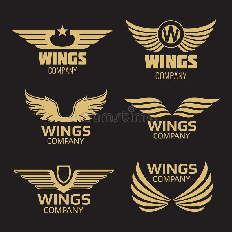 Vector golden wings logo vector illustration