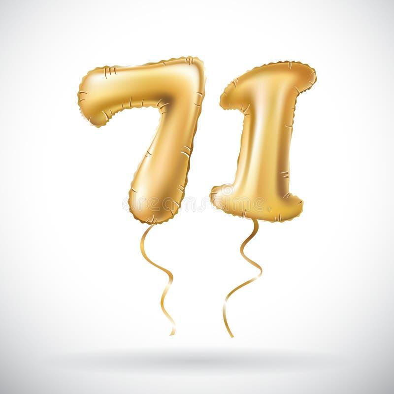 Vector goldene Nr. 71 siebzig ein metallischer Ballon Goldene Ballone der Parteidekoration Jahrestagszeichen für glücklichen Feie vektor abbildung