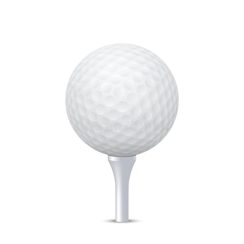 Vector golf ball on tee. 3d realistic golf ball on white tee - isolate. Vector EPS10 illustration vector illustration