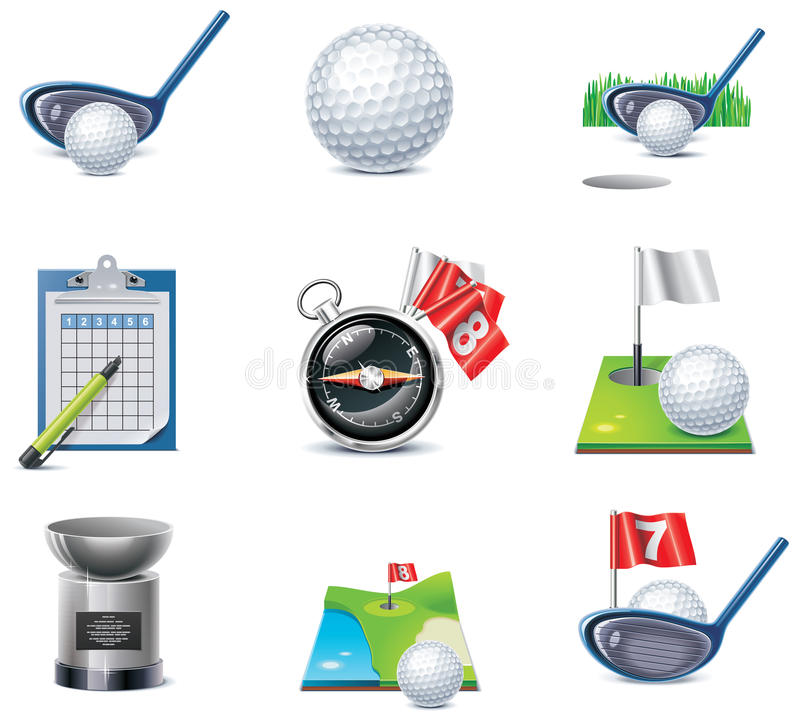 Download Vector golf icon set stock vector. Image of golf, course - 18064983