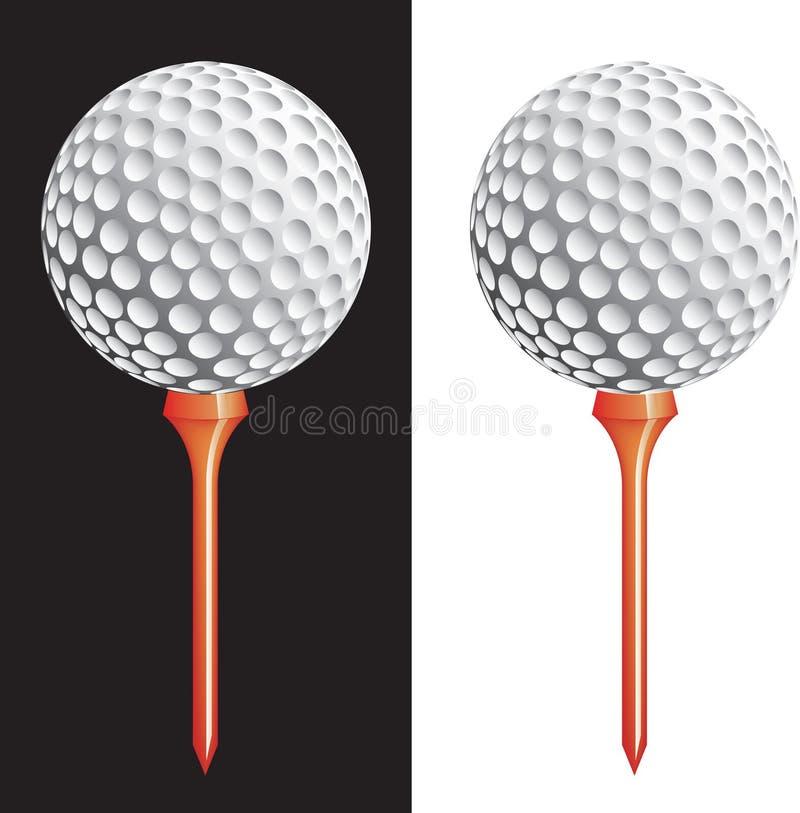 Vector golfbal op T-stuk stock illustratie