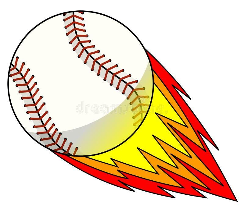Vector golpeado explosivo de la historieta de la mascota del carácter de la bola del béisbol aislado stock de ilustración