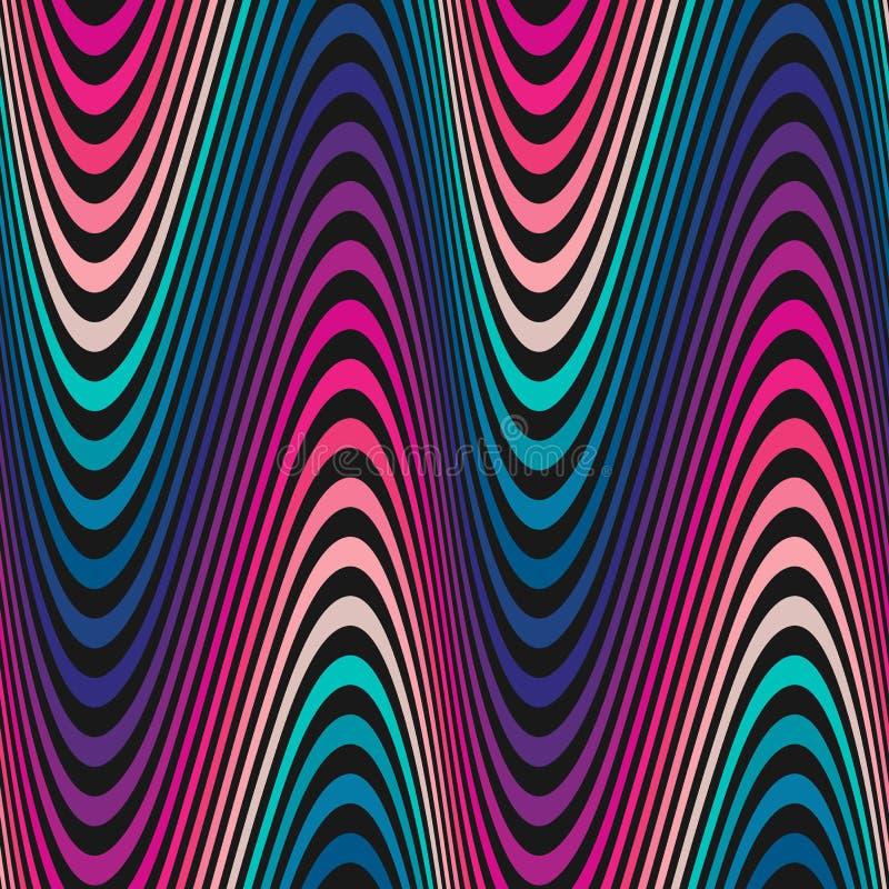 Vector golvend naadloos patroon, gebogen lijnen, strepen, kleurrijke gradiënt stock illustratie