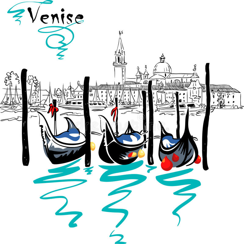 Vector Gondolas in Venice lagoon, Italia. Gondolas moored by Saint Mark square with San Giorgio di Maggiore church in the background in Venice lagoon, Italia stock illustration