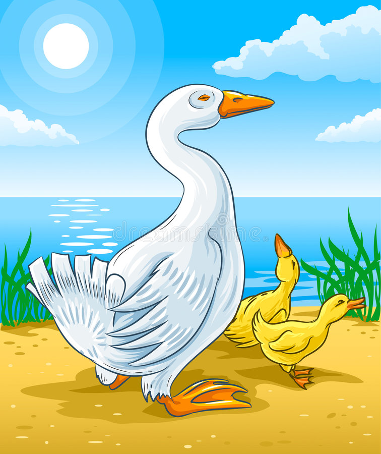 Free Vector Goose Mother With Gosling Kids Royalty Free Stock Photo - 6724415