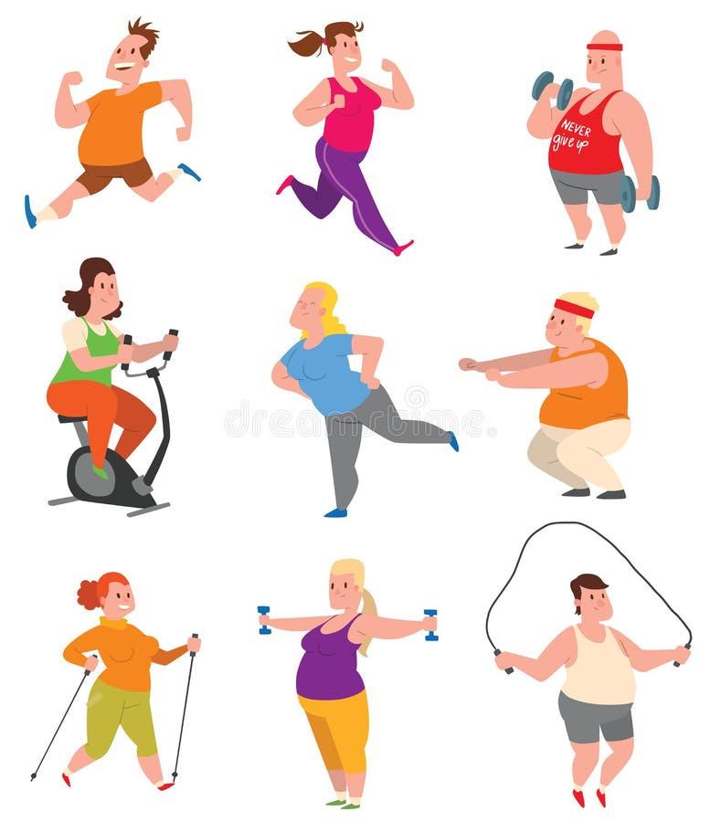 Vector gordo del gimnasio de la aptitud de la gente ilustración del vector