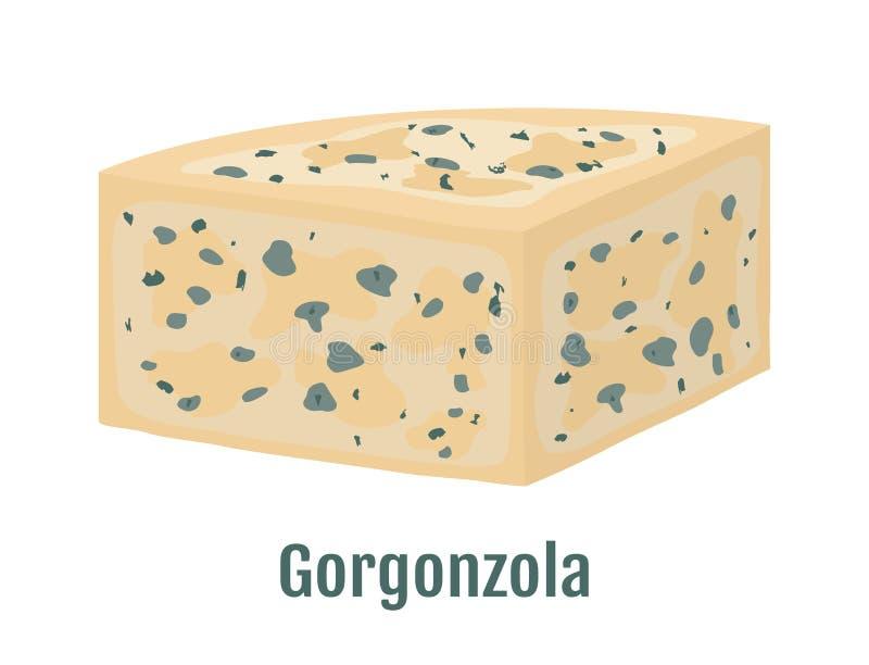 Vector gorgonzola, Italian blue cheese with mold. Cartoon flat style stock illustration