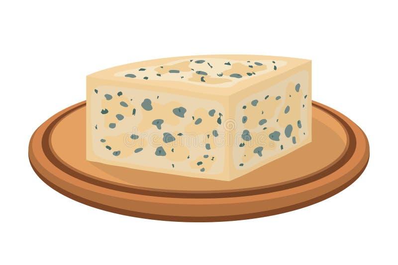 Vector gorgonzola, Italian blue cheese on wooden plate. Cartoon flat style royalty free illustration