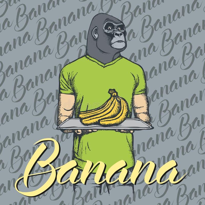 Vector gorilla with bananas illustration vector illustration