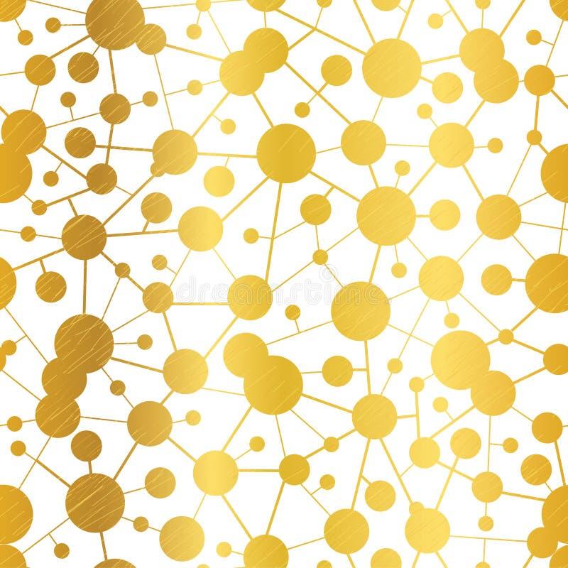 Vector Gouden Abstracte Naadloze het Patroonachtergrond van het Moleculesnetwerk stock illustratie