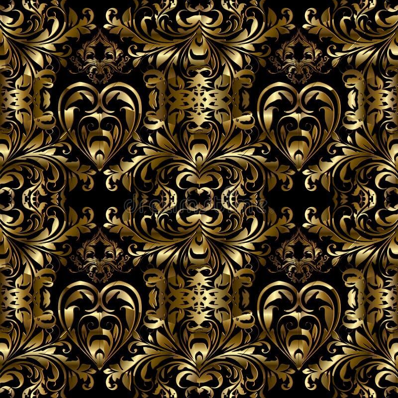 Download Vector Gouden Barok Naadloos Patroon Bloemen Gouden Damast Backg Vector Illustratie - Illustratie bestaande uit luxe, stof: 107708907