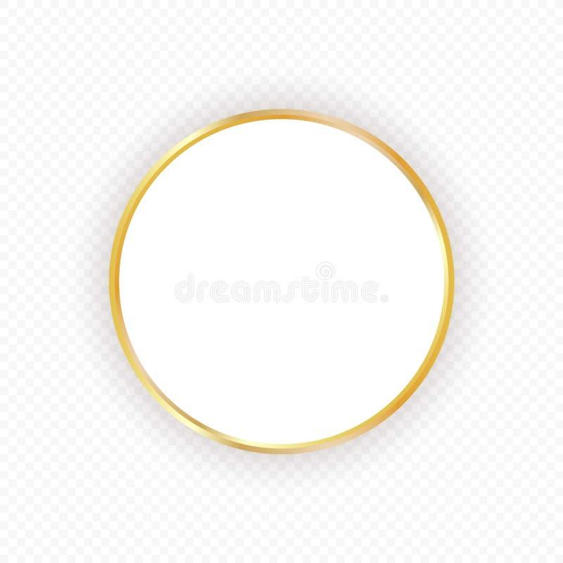 Vector gouden cirkelkader met schaduw op transparante achtergrond Elegant ontwerpmalplaatje voor uitnodigingen, kaarten royalty-vrije illustratie