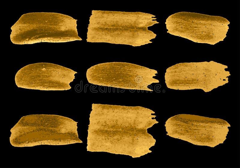 Vector gouden de verfsamenvatting van de borstelslag op zwarte reeks als achtergrond royalty-vrije illustratie