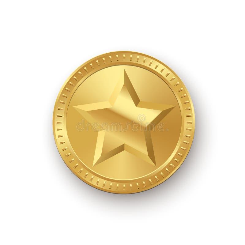Vector gouden die medaillon met ster op witte achtergrond wordt geïsoleerd stock illustratie